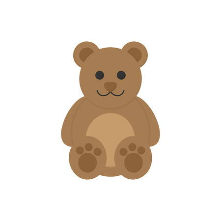 Cute teddy bear toy vector graphic illustration icon. Plush, stuffed brown sitting bear. Isolated. Çizim