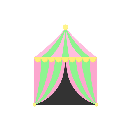 Cute circus, carnival, funfair tent or booth, vector graphic illustration icon. Isolated.