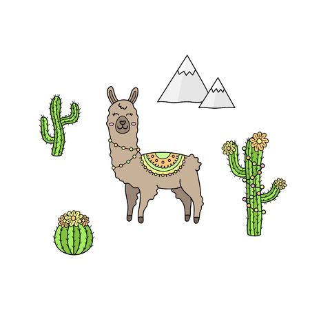 Hand drawn llama collection. Brown llama or alpaca with patterned fringed blanket. Cute outlined vector illustrations of llama animal, cactus plants and mountains. Isolated.