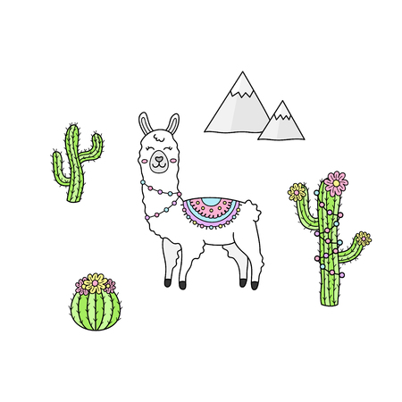 Hand drawn llama collection. White llama or alpaca with patterned fringed blanket. Cute outlined vector illustrations of llama animal, cactus plants and mountains. Isolated.