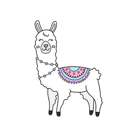 Cute hand drawn white llama with patterned fringed blanket. Cute furry llama or alpaca animal outlined vector illustration. Isolated. Çizim