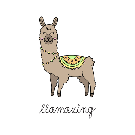 Hand drawn brown llama with patterned fringed blanket. Cute furry llama or alpaca animal outlined vector illustration with writing llamazing. Isolated.