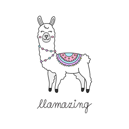 Hand drawn white llama with patterned fringed blanket. Cute furry llama or alpaca animal outlined vector illustration with writing llamazing. Isolated.