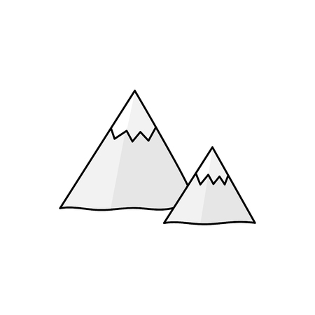 Cute hand drawn mountains outlined vector illustration. Mountain symbol, isolated.