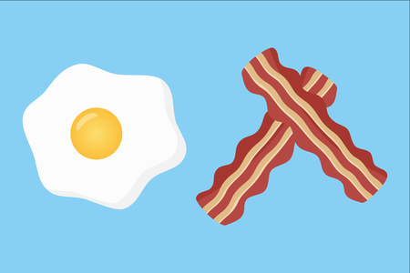 Bacon and egg breakfast, bacon strips and fried egg vector illustration, isolated on blue background.