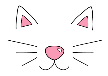 Cute cat head illustration doodle drawing, cat dream, ears and whiskers. Outline cat's head graphic icon.