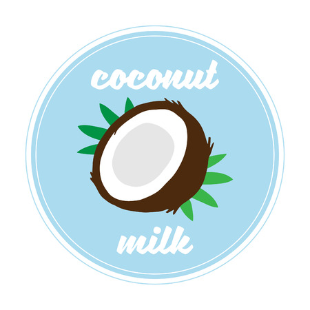 Coconut milk logo, vector illustration, poster or print. Coconut fruit with green palm tree leaves, blue circle background and white details.