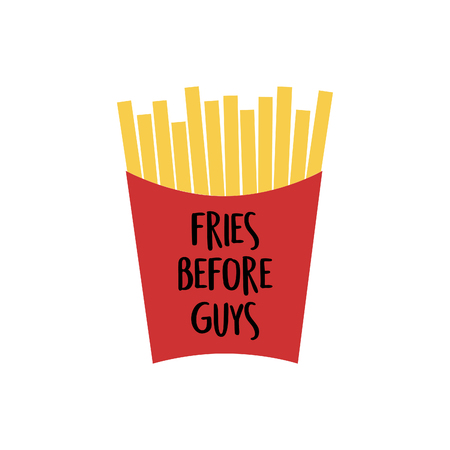 French fries in red paper box. Fries Vector Illustration Cartoon Fries Vector Illustration.