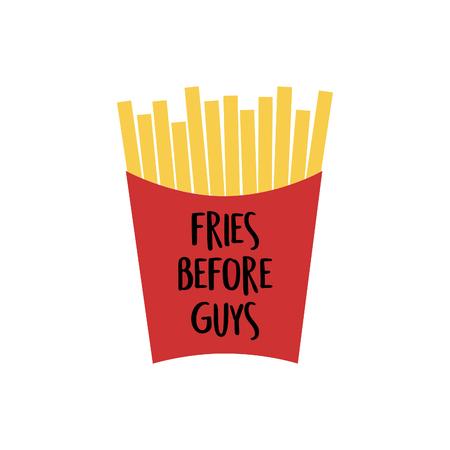 Frites dans une boîte en papier rouge. Illustration vectorielle de frites Illustration vectorielle de frites de dessin animé. Vecteurs