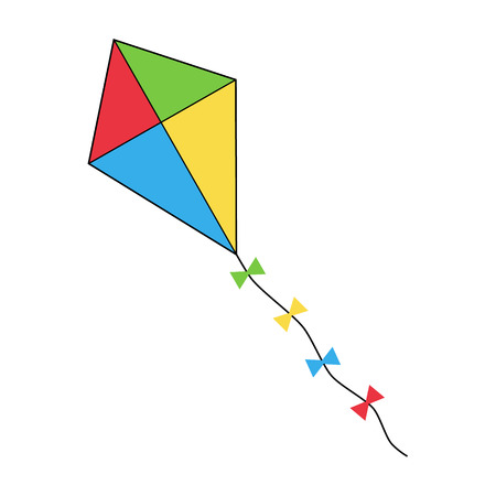 Colorful flying kite icon, vector illustration drawing.