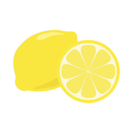 Yellow lemon citrus fruit doodle vector illustration, isolated on white background. Whole piece and slice.