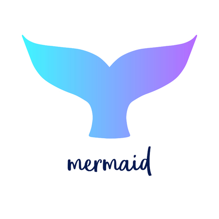 Mermaid tail and writing, vector illustration mermaid tail in blue and violet colors. Isolated on white background.