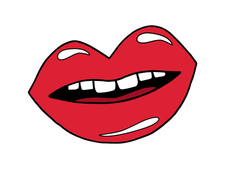 Mouth doodle cartoon drawing. Smiling red lips with teeth and tongue, vector illustration drawing. Illustration