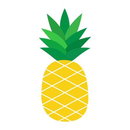 Illustrazione del fumetto di vettore di ananas, isolato su sfondo bianco, icona grafica. Vettoriali