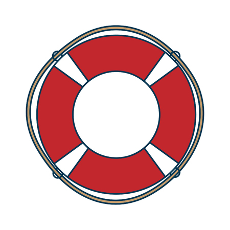 Red rescue wheel with rope, life saver inflatable ring vector illustration isolated on white background. Illustration