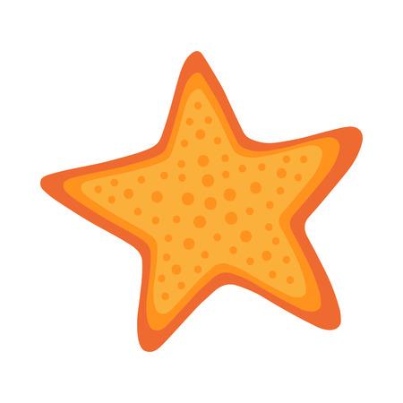 Pomarańczowa rozgwiazda zwierząt morskich. Słowa kluczowe grafiki wektorowej: na białym tle.