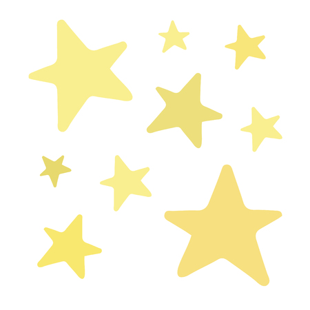 Golden Shiny Stars. Vector Illustration Keywords: Hand drawn sparkle stars isolated. Star icons.