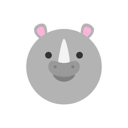 Cute Rhinoceros Round Graphic Vector Icon. Gray rhino with horn, animal head, face illustration. Isolated.