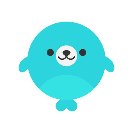 Cute Seal Round Graphic Vector Icon. Blue sea lion, seal with flippers, animal head, face illustration. Isolated.