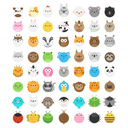 Round animal vector illustration collection. Big set of cute animal icons, isolated. Random wild, savannah, zoo, farm, domestic, forest, garden animals and insect.