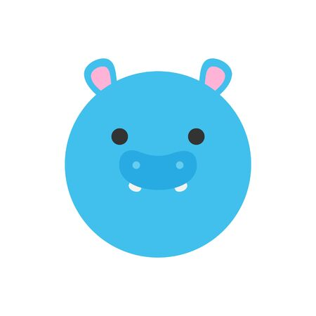 Cute hippopotamus round graphic vector icon. Blue Hippo Animal Head, Face Illustration. Isolated.