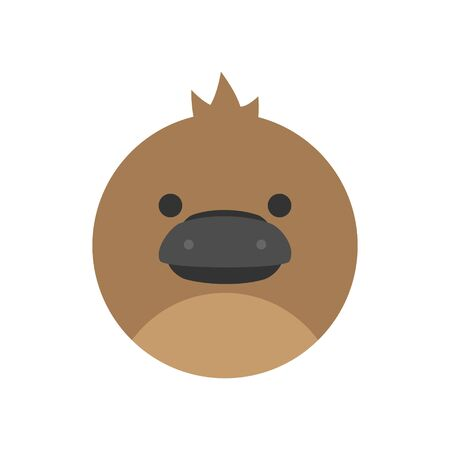 Cute Platypus Round Graphic Vector Icon. Brown platypus animal head, face illustration. Isolated.