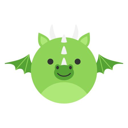 Cute Dragon Round Graphic Vector Icon. Green fairytale dragon with horns and wings. Mythical creature head. Isolated.