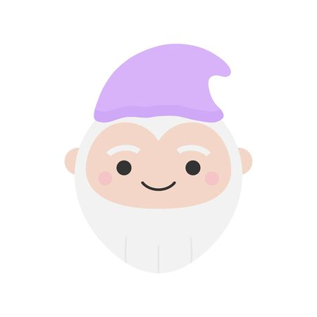 Cute Dwarf Round Graphic Vector Icon. Gnome with gray beard and violet hat. Fairytale creature. Isolated.
