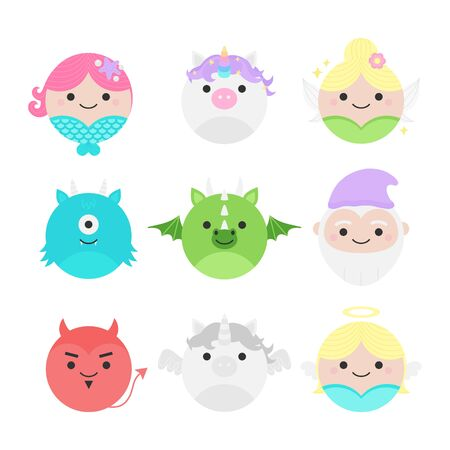 Cute vector icon set of fairytale characters, mythical creatures. Round illustrations; Mermaid, Unicorn, Fairy, Monster, Dragon, Dwarf, Devil, Pegasus and Angel. Isolated.