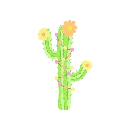 Hand drawn cactus. Cute vector illustration of cactus plant with flowers and decorations. Isolated. 免版税图像 - 126475340