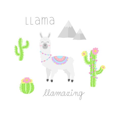 Llama hand drawn collection. White llama or alpaca with patterned fringed blanket. Cute vector illustrations of llama animal, cactus plants and mountains. Isolated.