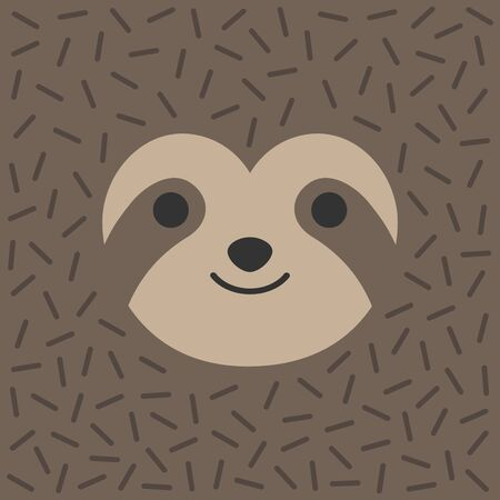 Vector Illustration Keywords: Square sloth animal face. Cute trendy background. Иллюстрация