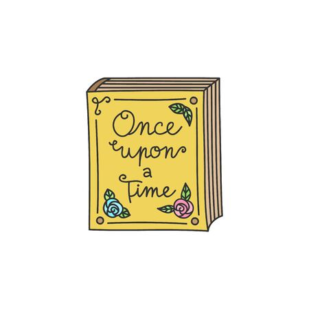 Fairytale, storybook vector illustration. Once upon a time, Bedtime old, vintage book decorated with roses. Hand drawn isolated icon, sticker.