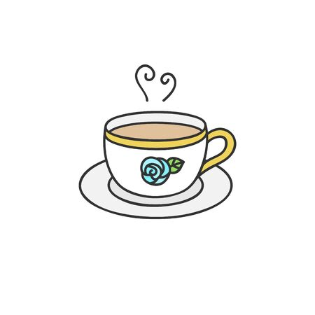 Vector Illustration Keywords: White cup of tea with blue rose and gold details. Hand drawn isolated icon, sticker.