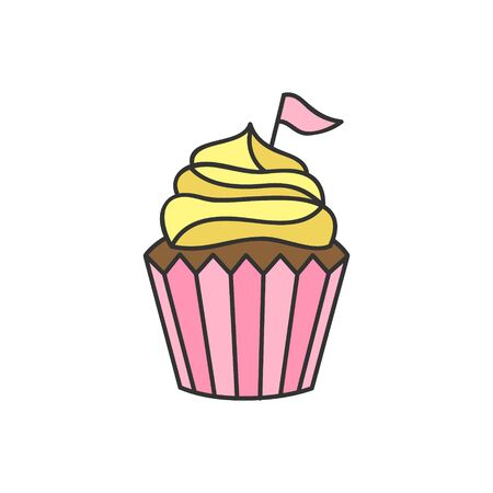 Cupcake vector illustration. Sweet chocolate cupcake, muffin decorated with vanilla cream icing and pink flag. Isolated hand drawn outline icon, sticker. Illustration