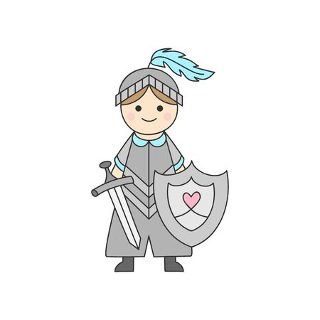 Vector Illustration Keywords: Fairy tale, little boy with armor, helmet, shield and sword. Isolated outlined icon, sticker.