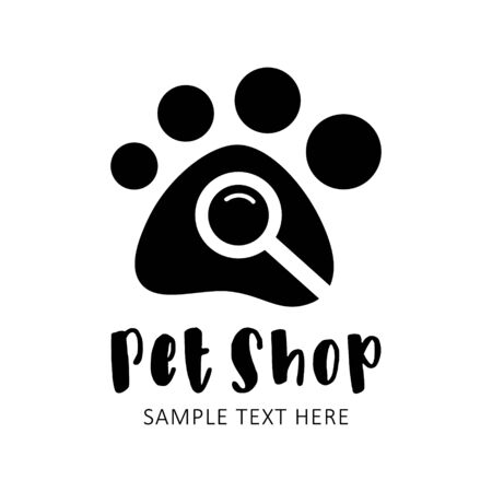 Vector Illustration Categories: Animal paw footprint with magnifying glass inside and sample text. E-shop, online shop black symbol. Isolated.