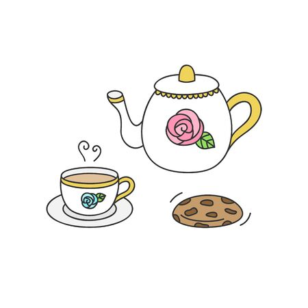 Vector Illustration Keywords: White teapot and cup with rose and gold details. Princess tea service with cookie. Hand drawn isolated icon, sticker.