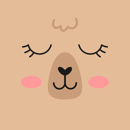 Llama alpaca face vector illustration icon. Square brown girly llama animal background. 写真素材 - 129615526
