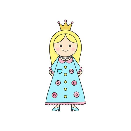 Vector Illustration Keywords: Fairy tale, little girl wearing blue and pink rose dress, blue shoes and gold crown on head. Isolated outlined icon, sticker. Ilustração