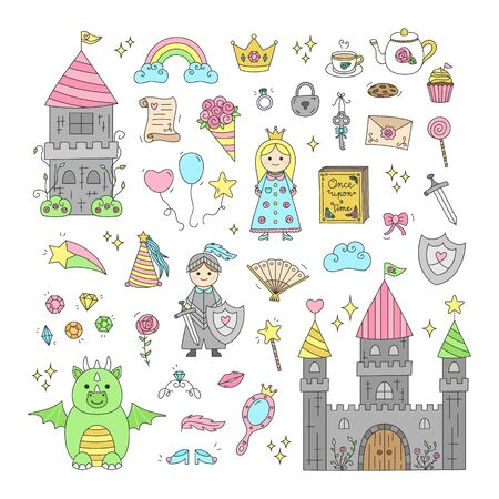 Vector Illustration Keywords: Fairy tale, hand drawn collection. Isolated outlined icons, stickers.