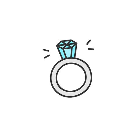 Vector Illustration Keywords: Princess, luxury jewelry, engagement diamond ring. Hand drawn isolated icon. Vectores