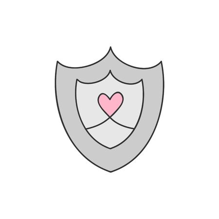Shield vector illustration. Cute Knight's Armor, Armor Shield, Fairytale, Medieval Prince Arm, Protection. Hand drawn isolated icon, sticker.