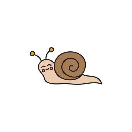 Mots-clés de l'illustration vectorielle : escargot mignon dessiné à la main avec coquille. Animal de dessin animé isolé.