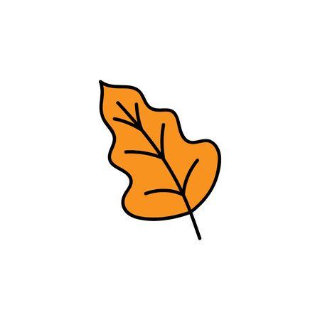 Vector Illustration Keywords: Hand drawn cute autumn orange oak leaf. Isolated cartoon graphic icon. Çizim
