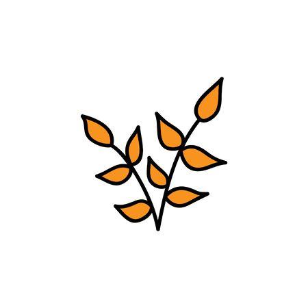 Vector Illustration Keywords: Hand drawn cute orange leaf branch. Isolated cartoon graphic icon.