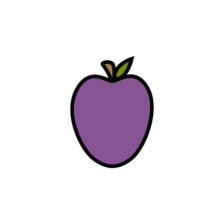 Vector Illustration Keywords: Cute Hand Drawn Autumn Purple Fruit. Isolated cartoon graphic icon. Stok Fotoğraf - 133025935