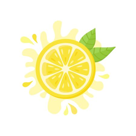 Lemon vector icon, flat illustration. Yellow fresh half cut lemon with squeezed juice and green leaves. Isolated.