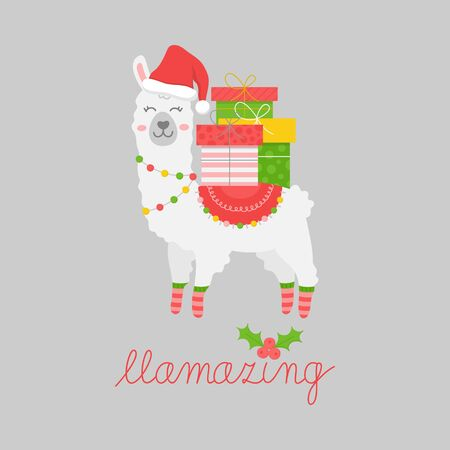 Christmas llama vector illustration. Festive, seasonal, holiday cute lalama design with writing, quote Fa la la la llama. Isolated cartoon graphic print. Çizim