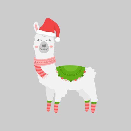 Christmas llama vector illustration. Cute, festive, seasonal, holiday, trendy xmas alpaca animal, santa hat, warm scarf, socks and blanket. Isolated cartoon graphic character print.